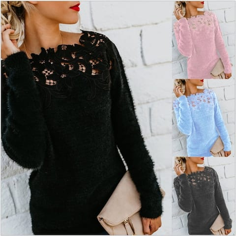 Women Loose Knitted Pullover Jumper Sweater O Neck Long Sleeve Knitwear Top Lace Floral Collar Winter