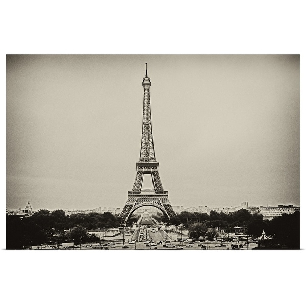 """Eiffel Tower in old style black and white image."" Poster Print"