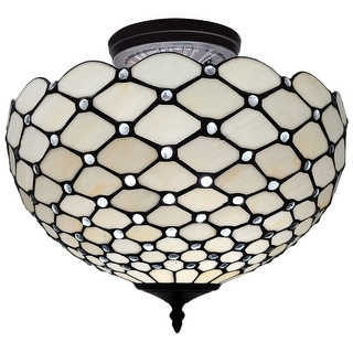 "Link to Tiffany Style Ceiling Fixture Lamp Jeweled Semi-Flush 16"" Wide Stained Glass White Bedroom Gift AM086CL16B Amora Lighting Similar Items in Pendant Lights"