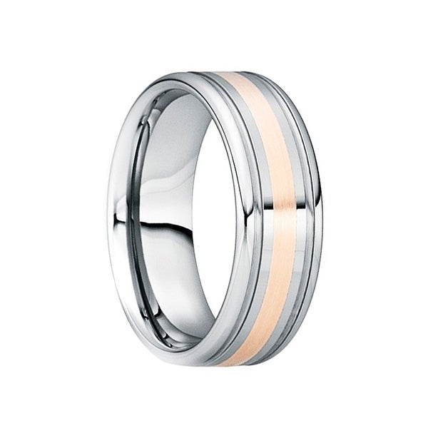 CAMILLUS Tungsten 18K Rose Gold Inlaid Wedding Band with Double Groove Accents by Crown Ring - 8mm