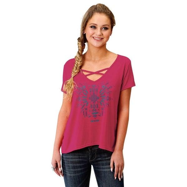 Roper Western Shirt Womens Short Sleeve Raspberry