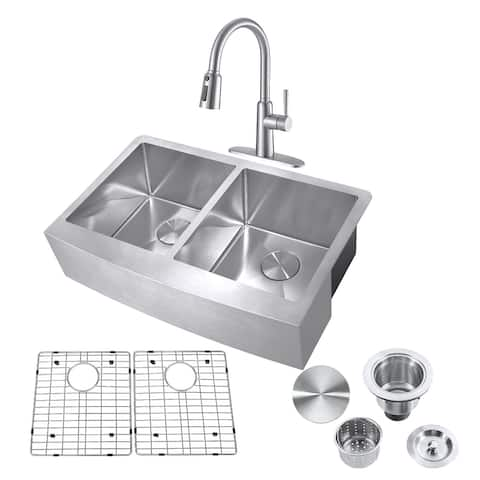 """33"""" Farmhouse 50/50 Double Bowl Kitchen Sink and Pull-down Faucet,Drain Assembly with Strainer, Protective Bottom Grid"""