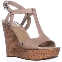 Marc Fisher Helma Platform Wedge Sandals, Light Natural