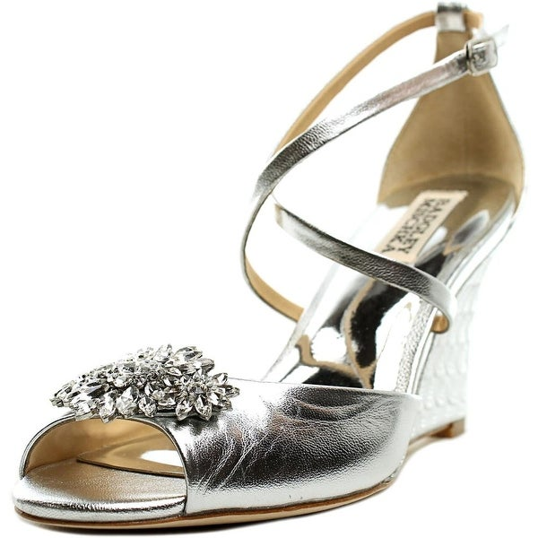 Badgley Mischka Cabina Women Open Toe Leather Silver Wedge Heel