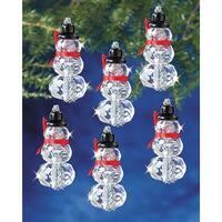 "Holiday Beaded Ornament Kit-Faceted Elegant Snowmen 2""X1"" Makes 12"