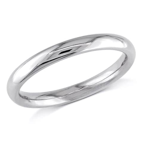 Miadora 10k White Gold Stackable Wedding Band Ring (2.5mm)