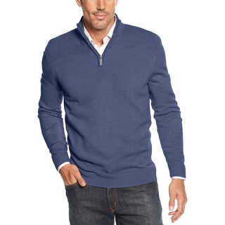 Geoffrey Beene Quarter Zip Mock Neck Sweater Indigo Blue Heather Small S