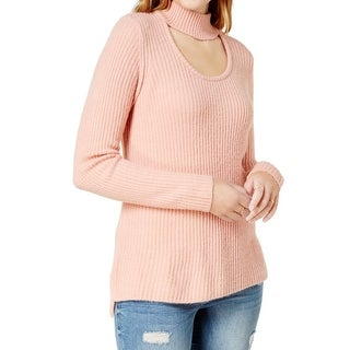 Kensie NEW Pink Ribbed Knit Choker Medium M Scoop-Neck Pullover Sweater