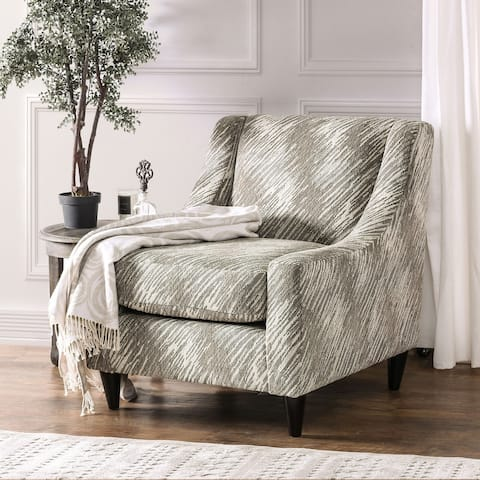 Furniture of America Loda Contemporary Grey Linen Padded Club Chair