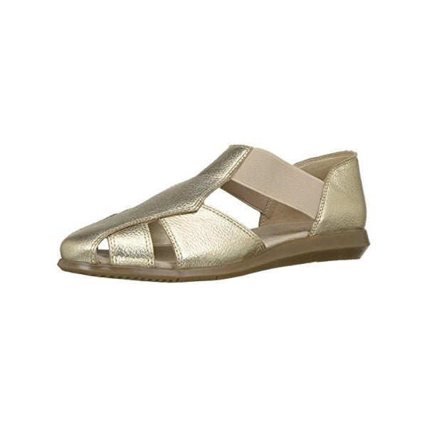 Aerosoles Womens Believe Flat Sandals Round Toe Metallic