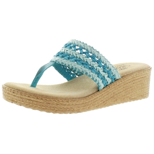Sbicca Harbor Women's Raffia Wedge Thong Sandals Handmade USA