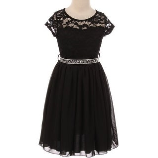 Flower Girl Dress Floral Lace Top Chiffon Skirt Black JKS 2053