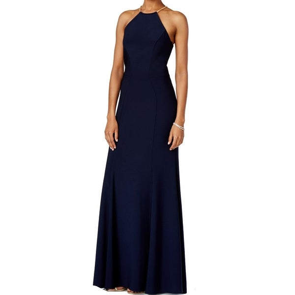 Xscape Womens Chain-Neck Halter Jersey Knit Gown Dress - Free ...
