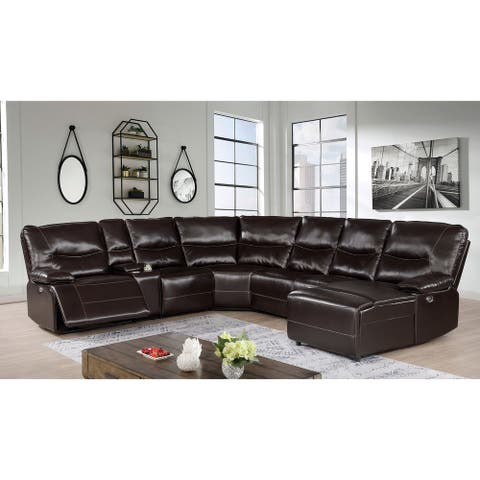 Furniture of America Yount Transitional Dark Brown Power Sectional