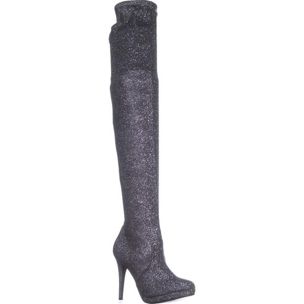TS35 Blairre Over-The-Knee Platform Boots, Silver Metallic