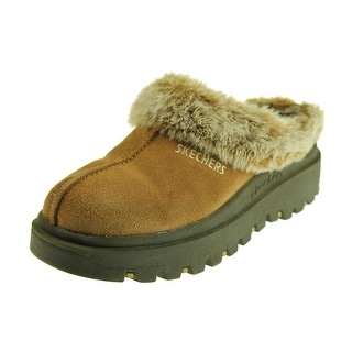 Skechers Womens Fortress Suede Faux Fur Clog Slippers - 5