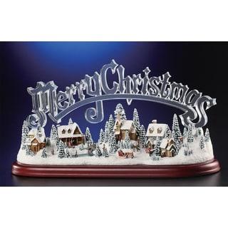"Animated Musical Illuminated Icy Crystal Merry Christmas Village Figurine 8.5"""