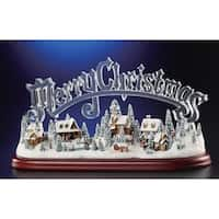 "Animated Musical Illuminated Icy Crystal Merry Christmas Village Figurine 8.5"" - CLEAR"