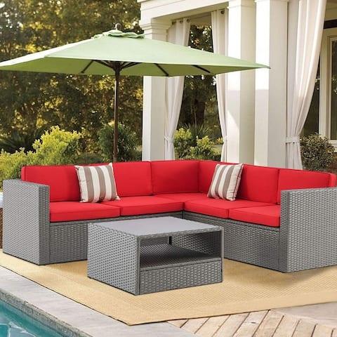 Solaura Outdoor 4-pc. Patio Rattan Sectional Sofa Set