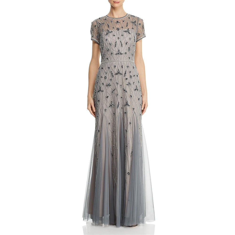 Adrianna Papell Womens Formal Dress Floral Beaded