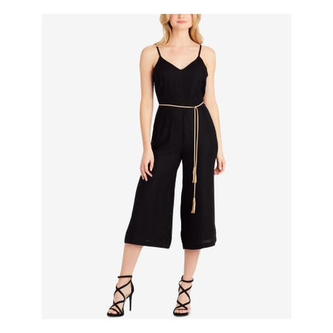 JESSICA SIMPSON Womens Black Tassel Cropped Spaghetti Strap V Neck Jumpsuit Juniors Size: M