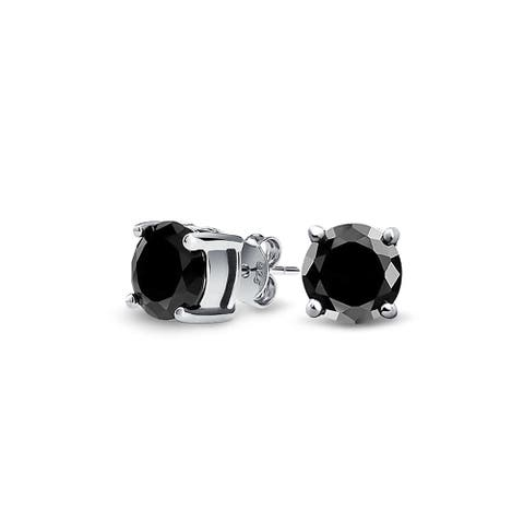 Black Solitaire Brilliant Cut CZ Stud Earrings 925 Sterling Silver