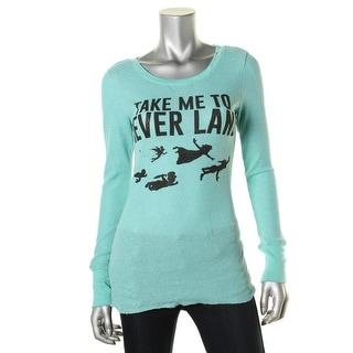 Disney Womens Juniors Slogan T-Shirt Metallic Thermal