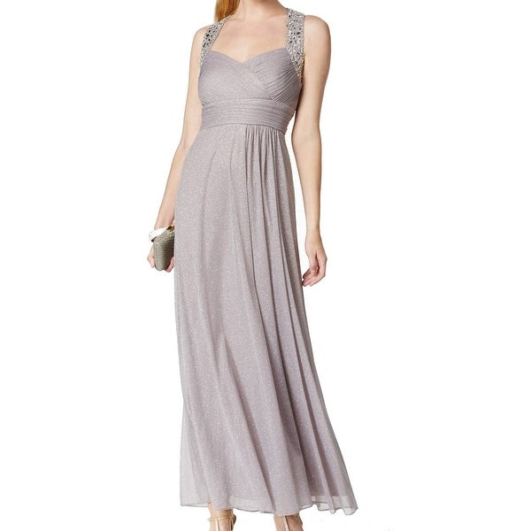 Alex Evenings Gray Women's Size 14 Embellished Ruched Ball Gown