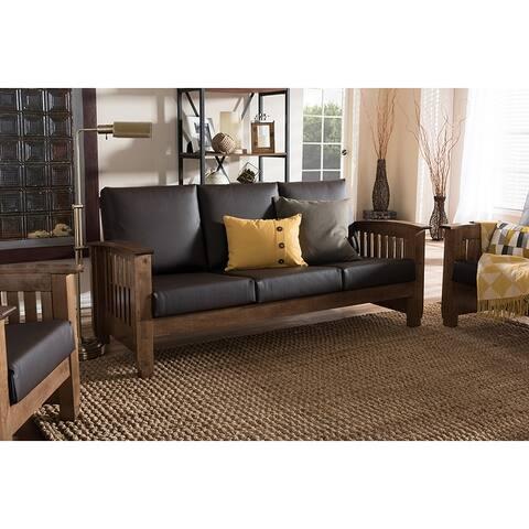 Cassandra Faux Leather 3-Seater Sofa, Dark Brown