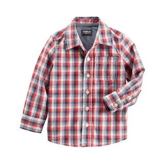 OshKosh B'gosh Big Boys' Plaid Button Front Shirt, 8 Kids
