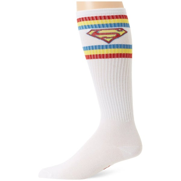 Superman Shield White Athletic Knee High Socks