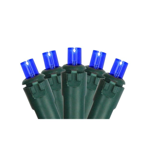 Set of 50 Blue LED Wide Angle Christmas Lights - Green Wire