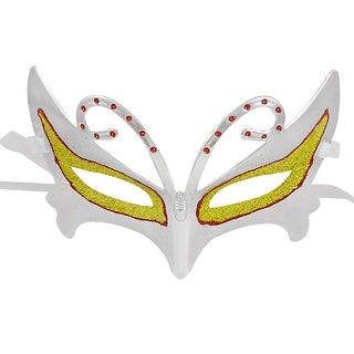 Unique Bargains Self Tie Ribbon Band Shiny Powder Decor Silver Tone Halloween Carnival Mask