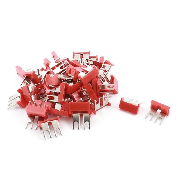 Unique Bargains 400V 10A 2P Red Insulated Electrical Terminal Jumper Fork Block Strip 50 Pcs