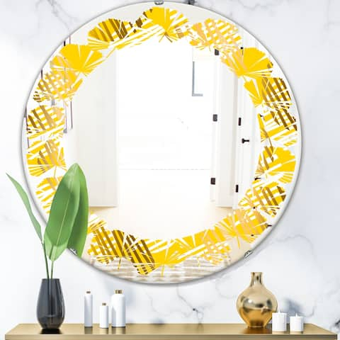 Designart 'Abstract Retro Geometric IV' Modern Round or Oval Wall Mirror - Leaves