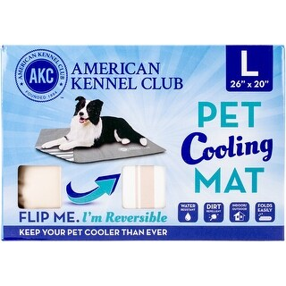 """American Kennel Club Striped Reversible Cooling Mat 26""""X20""""-Tan"""