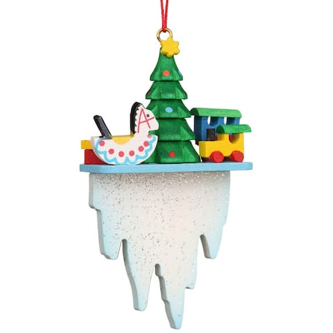 """3"""" Green, Icy White, and Yellow Tree and Toys on an Icicle Collectible Christian Ulbricht Ornament"""