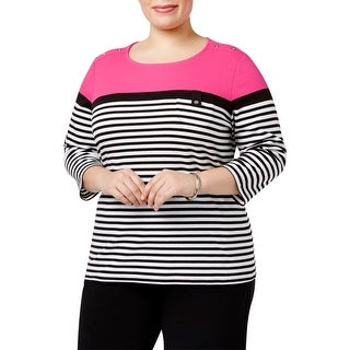 Karen Scott Womens Plus Casual Top Striped Scoop Neck - 2x