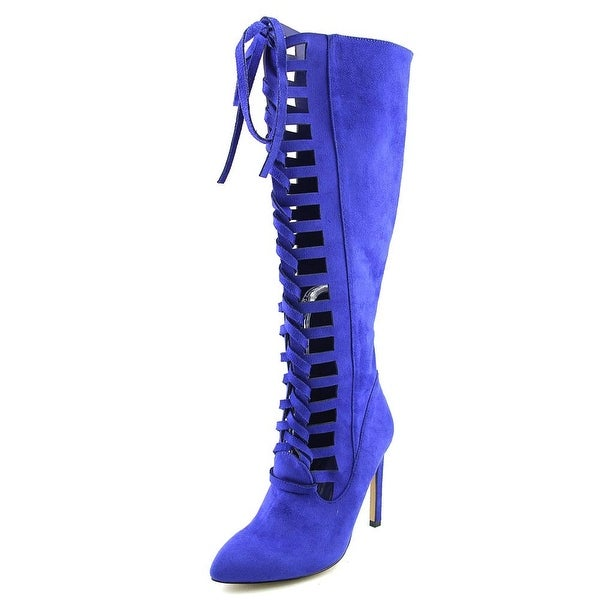 Chelsea & Zoe Pauline Women Pointed Toe Synthetic Knee High Boot