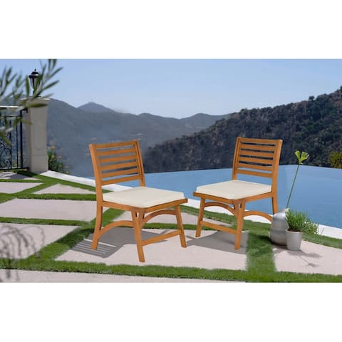Caulwell Natural Ladder Back Outdoor Side Chairs (Set of 2)