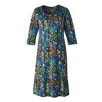 "Women's Stained Glass A-Line Dress - 3/4 Sleeve - Knee-length 43"" Long"