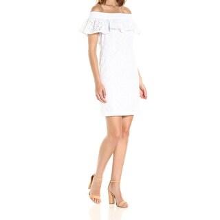 Calvin Klein White Womens Size 8 Off Shoulder Cotton Eyelet Dress