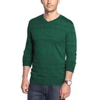 Alfani Red Label Slim Fit Dark Green Heather Textured V-Neck Pullover Sweater - XL