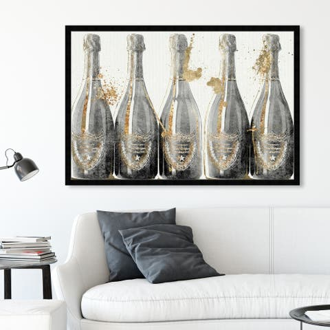 Oliver Gal 'Dom Marbles' Drinks and Spirits Framed Wall Art Prints Champagne - Gray, Gold