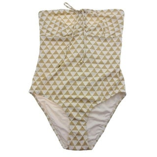 Shoshanna Womens Bandeau Pattern One-Piece Swimsuit