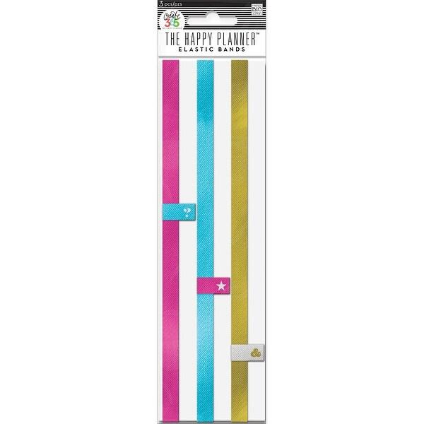 Create 365 Happy Planner Elastic Bands 3/Pkg-Pink, Gold, Teal