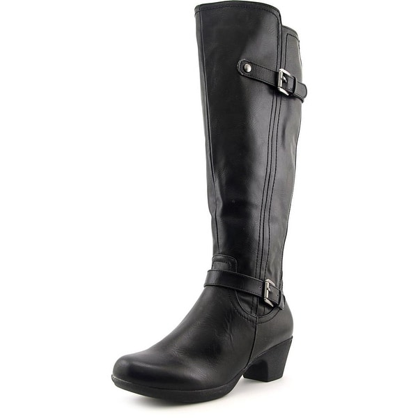 Axxiom Right On Women Round Toe Leather Black Knee High Boot