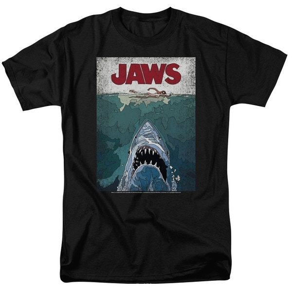 Jaws Lined Poster Mens Short Sleeve Shirt