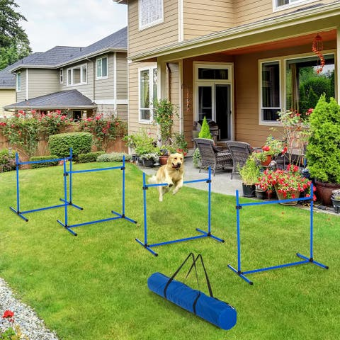 PawHut 4 Piece Dog Agility Starter Kit with Adjustable Height Jump Bars, Included Carry Bag, & Displacing Top Bar