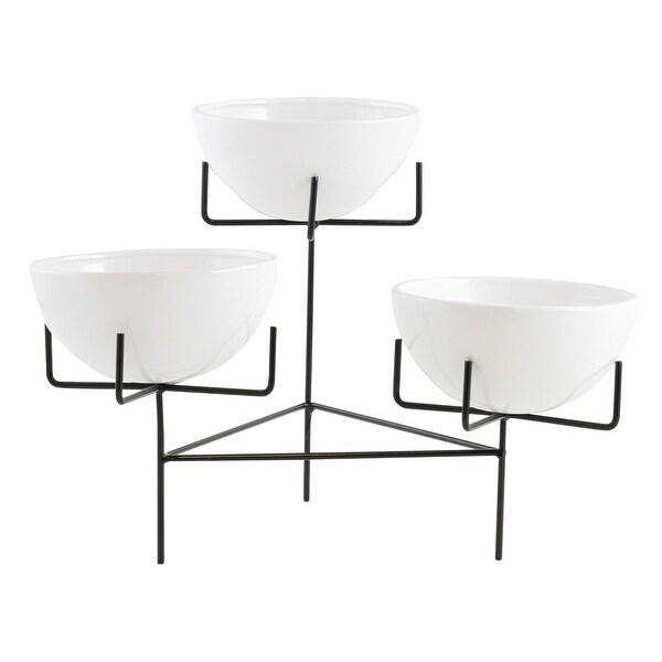Aspire Home Accents 6640 Zangora Three Piece Ceramic Planter with Metal Base - White